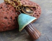 TuRquOiSE PATINA mushroom miniature ceramic necklace, antique brass findings, for the love of nature