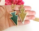 agate arrow pendant - statement necklace - druzy necklace - raw gemstone - gold dipped druzy necklace - druzy charm - bohemian chic jewelry