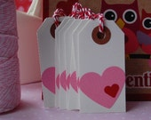 Pink with Red Valentine Heart Shipping Gift Tags - 2 3/4 x 1 3/8 - Set of 10 Tags - Ready to Ship