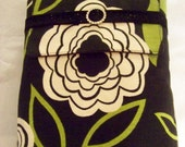 BIBLE COVER Bible Clutch Bible Sleeve CUSTOM Fit to protect your Bible inside Tote. Modern Black and Green Floral with Black Canvas
