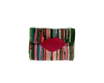Boho Chic Envelope Clutch. Fun Small Pink Lippy Kilimbag. Colorful Kourelou Purse. Bohemian Clutch. Gift for Her. Kourelou Bag. Womens Gift