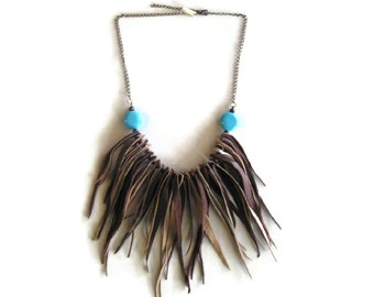 Turquoise Boho Fringe Leather Necklace. Bohemian Leather Jewelry. Womens Unique Gift. Brown Leather Chain Boho Bib Chunky Necklace
