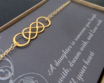 Intertwined infinity bracelet, gift for daughter from mom, wedding day, card, infinity jewelry