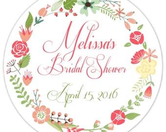 60 Wedding Shower Stickers, Floral Bridal Shower Labels, Stickers, 2.5 inch round, Wedding Shower Favor, Bridal Shower Favor, Flower Sticker