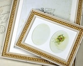 4x6 inch Double Oval Shabby Cottage White & Gold Boules Photo Frame/Antique Style Frame/Wedding Decor Frame/Office Desktop Frame