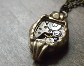 Steampunk Necklace Vintage Watch Movement Watch Case Clockworks Recycled Jewelry