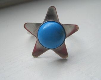 Blue Howlite star ring size 6