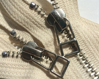 YKK metal zippers with Silver (Nickel) finish and DHR wire style pull-closed bottom- (5) pieces - Off White Cream Color 099- 9 or 12 inches