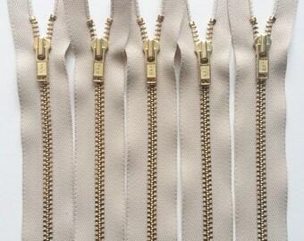 YKK Brass Metal Zippers 7 Inch Beige 572 (5) Pieces