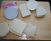 ChipBoard shapes - Chip Board hearts, tags, circles, stars, flowers, squares - shaped cardboard - Scrapbook Mixed media - Scrapbook supplies