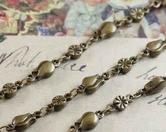 3.3 ft (1m) Antique Bronze Brass Flower Chain L04699