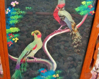 Mexican Feather Art Bird Framed Painting Collage Mixed Media Wall Art Hanging