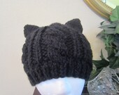 Cute Playful Warm Soft Black Cable Knit Cat Hat Beanie