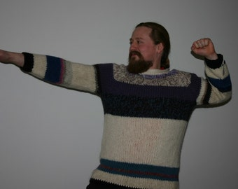 Very Cool Multicolor hand knitted Icelandic Wool Sweater - OOAK - Unisex Sweater - Earth friendly