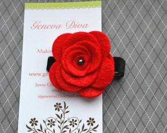 Red Felt Rosette Flower Clip with Black accents
