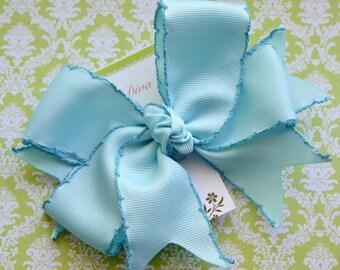 Light Blue with Darker Blue Crochet Edge XL Diva Bow