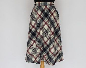 70's Bias Skirt / Plaid Wool / A Line / Navy Burgundy Plaid / XSmall