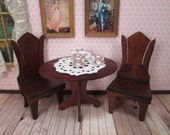 Antique Dollhouse Furniture - Parlor Table and Two Chairs - 1 Inch Scale