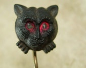 reserved for flam ANTIQUE Stickpin Black cat Victorian Halloween red eye vampire dracula era Figural jewelry late 1800s