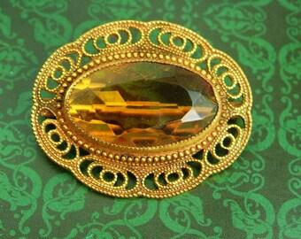 Antique Victorian Golden Topaz Brooch Large beautiful filigree frame C clasp