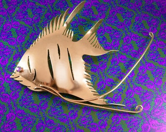 "HUGE sterling Fish Brooch Signed statement piece 5 1/2"" over the top vintage nautical delight rose gold over silver"