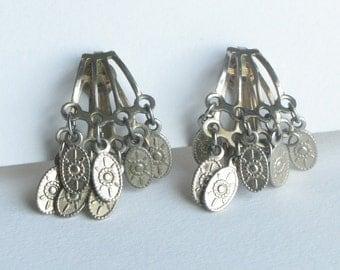 Funky Coin Dangle Gypsy Clip On Earrings
