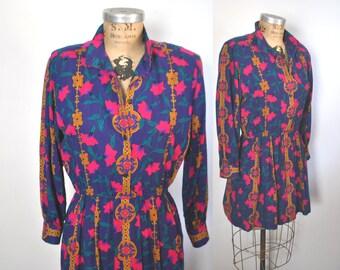1980s Mini Day Dress / Small