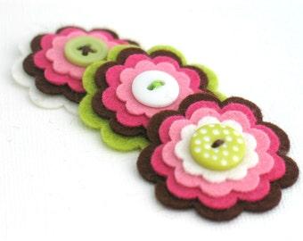 PIPER - Handmade Felt Flowers, Felt Layered Appliques, Felt and Button Embellishments, Felt Hair Clip Flowers, Set of 3