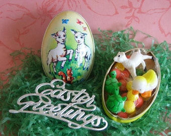 Vintage Tin Egg Candy Container Lamb Squirrel Murray Allen with Miniature Duck Lamb Turtles