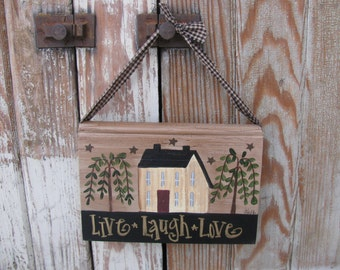 Primitive Saltbox and Willow Hand Painted Vintage Hanging Book GCC3603