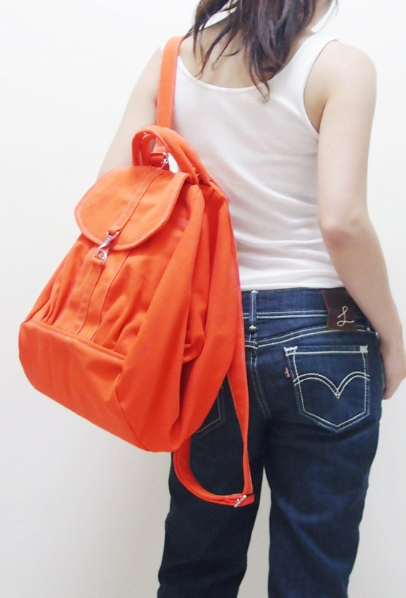 Canvas Women Backpack in Orange, Shoulder Bag, Crossbody Bag, Hobo, Travel Backpack, Satchel, Rucksack, Gift For Girls - ESS - SALE 20% OFF
