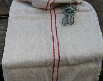 Nr. 222: antique elegant grainsack  DEEP  RED holiday feeling pillow cushion rural 51.18 long