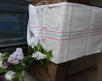 Nr. 658: Grain Sack antique faded RED and BLUE  style organic pillow benchcushion 47.24 long wedding decoration