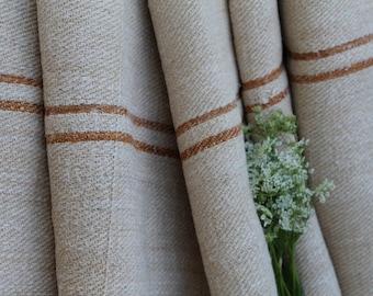 C 296 antique hemp linen GOLDEN CARAMELL upholstery 4.80 yards handloomed benchcushion Beachhouse look