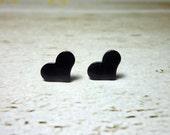 Black Heart Stud Earrings, Dainty Earrings