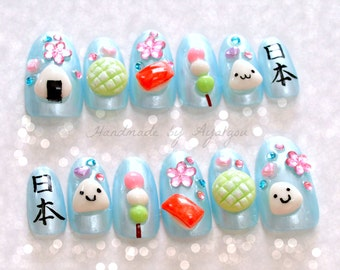 Nails, deco nails, 3D nails, onigiri, kawaii, food, kanji, Japanese, melonpan, sushi, dango, pastel, Japanese nail art, kawaii nail,
