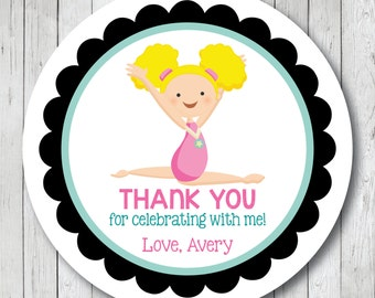 Gymnastics Girl . Personalized Gymnast Thank You Stickers or Tags