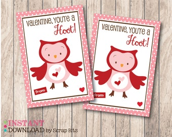 Instant Download . You're a Hoot Owl Printable Valentine's Day Card for Lollipops