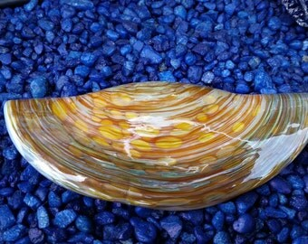 """Blown Glass 5"""" Razor Clam Shell, Decorative Hand Made Sea Shell Sculpture of a Northwest Delicacy, By Avalon Glassworks"""
