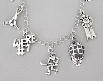 Hockey bracelet or hockey necklace, hockey charm necklace or hockey charm bracelet, antiqued silver