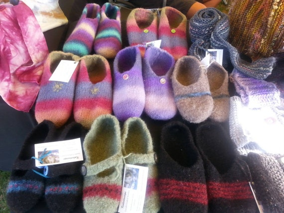 Slippers, hand knitted and felted from pure Australian wool