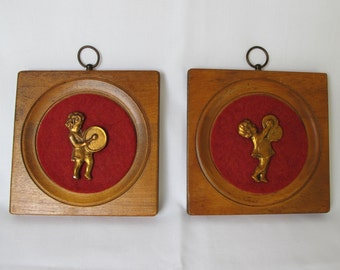 Music Vintage Wood Plaques 4 Four Inch Wall Hanging Red Felt Copper Girl Child Percussion Drum Cymbals Relief Sculpture Art Marching Band