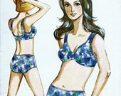 1969 Misses 2 Pc Swimsuit Bikini KWIK SEW UNCUT Pattern 158 sizes 8 10 12 14