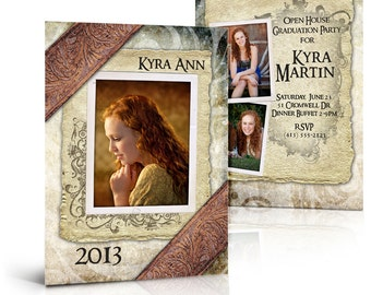 SENIOR Girl Card Set for Photoshop - KYRA ANN - 5x7 Flat and Folded Press Printed Card Templates for Photographers.