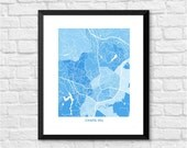 Chapel Hill North Carolina Art Map Print.  Color Options and Size Options Available.  Perfect for your favorite Tar Heel.