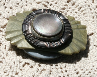 Magnetic Brooch - Vintage Mother of Pearl and Abalone Vintage Celluloid Belt Buckle