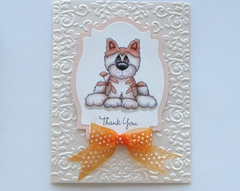 dog thank you card - orange husky dog - dog Greeting Card - embossed dog card - orange dog card - hand crafted card - orange card