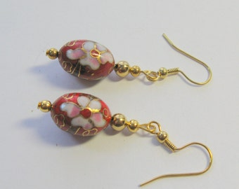 Cloisonne Earrings in Red and Gold  E1349