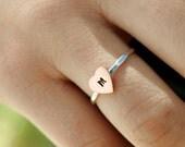 Initial Ring, Heart Stack Ring, Custom Initial Ring, Copper Heart Ring, Stack Ring, Silver Stack Ring, Bridesmaid Rings