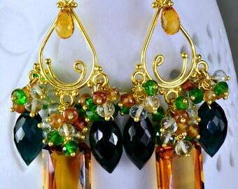 Maderia Citrine Gemstone Chandelier Earrings Citrine Hessonite Chrome Diopside Cluster Earrings
